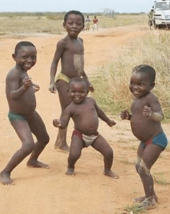 african kids dancing meme template