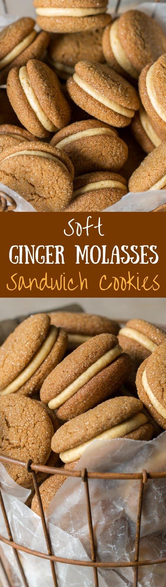 Soft Ginger Molasses Cookies with Pumpkin-Butter Buttercream | www.savingdessert.com