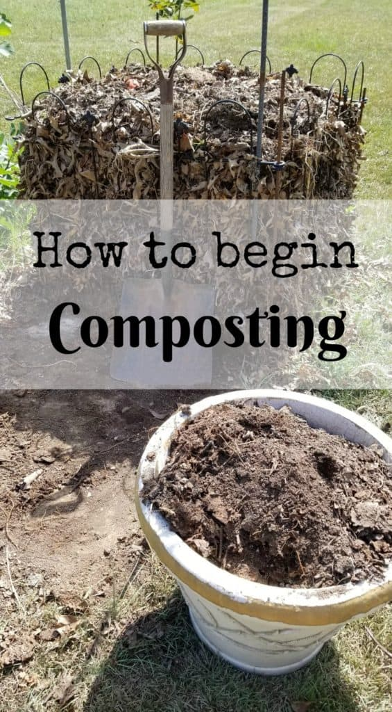 How to Begin Composting, Shovel leaning against a compost pile and pot filled with compost