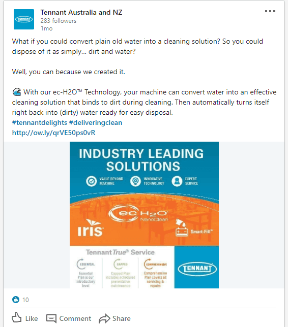 LinkedIn content written for B2B manufacturing company