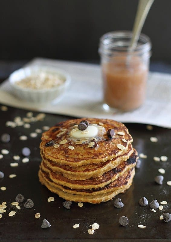 These hearty oat based sweet potato chocolate chip pancakes are the perfect balance of a healthy and decadent breakfast!
