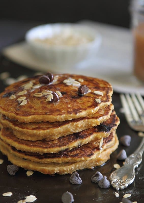 Hearty sweet potato pancakes with chocolate chips make a great weekend morning breakfast.