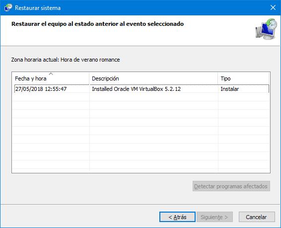 Restaurar sistema en Windows 10
