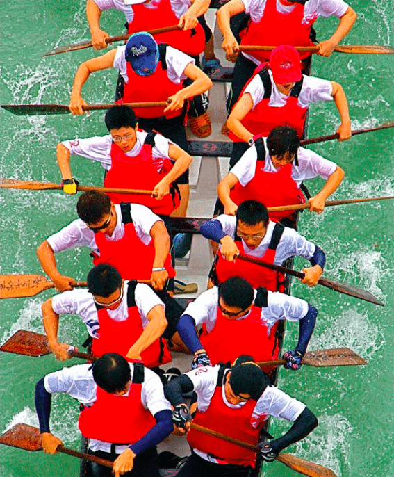 Dragon boat racers photographed from above at Bitan, Xindian, New Taipei City in June