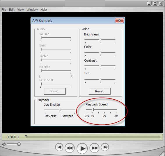 QuickTime video speed controls