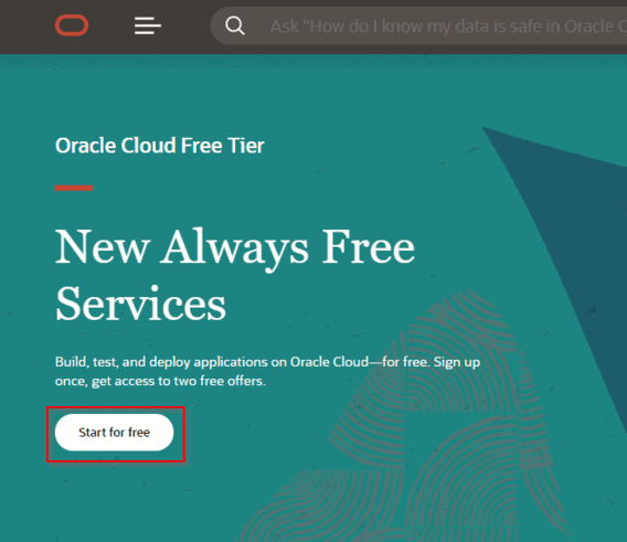 Oracle Cloud Try for Free