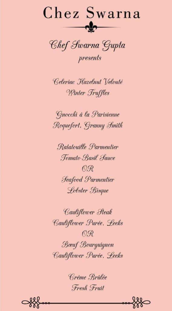 Chef Swarna Gupta menu for the french supperclub.