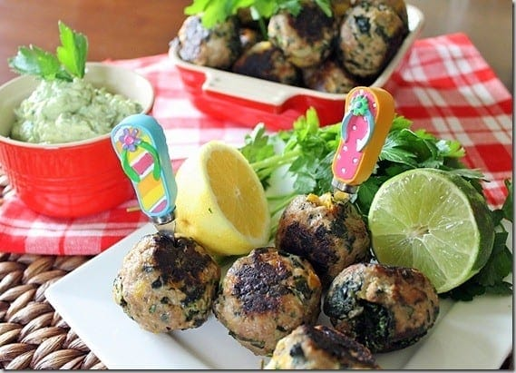 Turkey Meatballs with Avocado Sauce