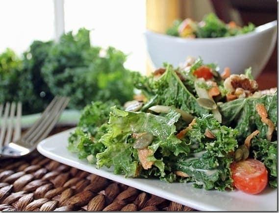 Kale Salad with Hummus Dressing