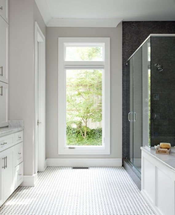 Repose Gray brings warmth to a bathroom with northern light