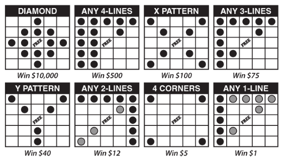 New Mexico Lottery Lucky Numbers Bingo winning patterns