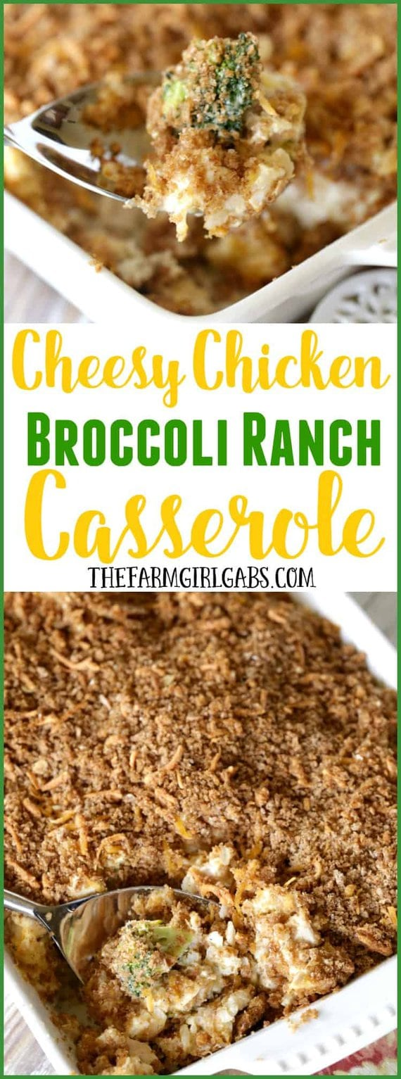 Cheesy Chicken Broccoli Ranch Casserole is a comforting meal that will warm your up on a cold day. It's perfect to make for a quick weeknight dinner.