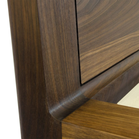 walnut platform bed no. 1 detail