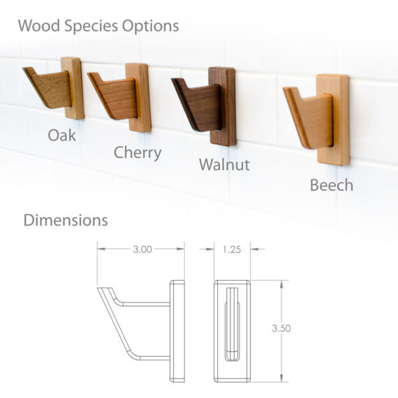 wood robe and towel hooks, available in walnut, cherry, oak, beech woods