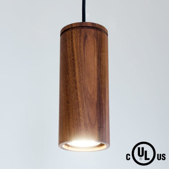 walnut cylinder pendant light