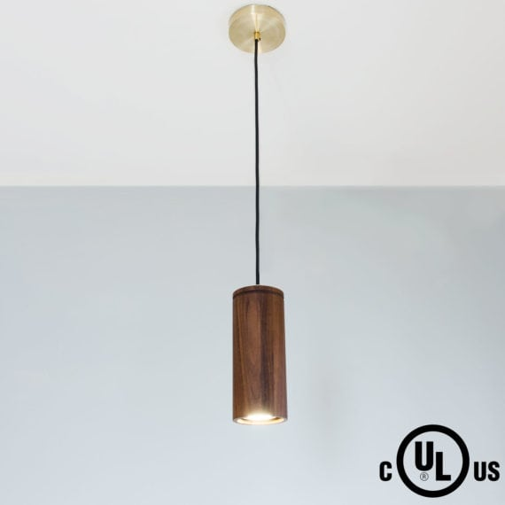 walnut pendant light with cylinder shade
