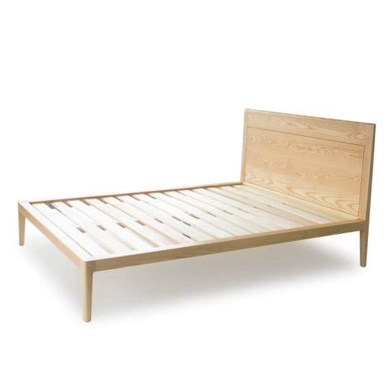 solid ash wood platform bed with headboard