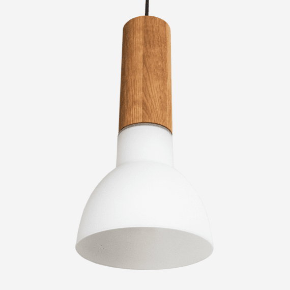 elton contemporary pendant light with wood and opal glass