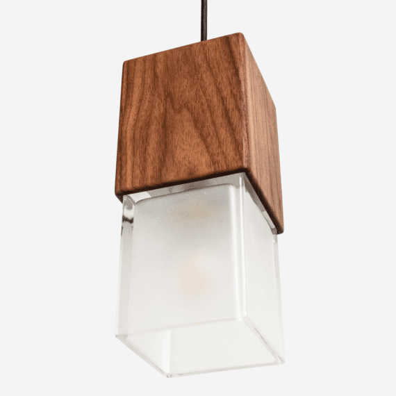 lower isometric view of prairie pendant light. thick glass edges