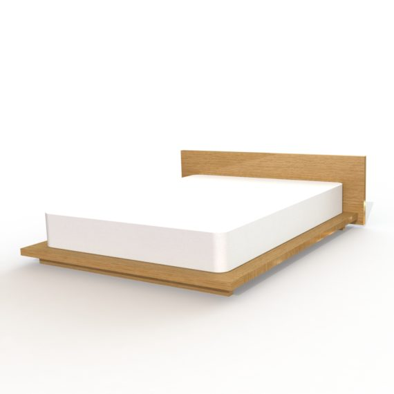 oak platform bed shown mattress, modern design