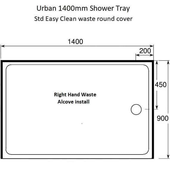 Urban 1400 x 900 Alcove RH waste
