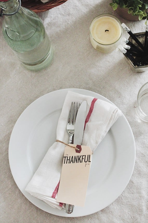 Thanksful printable place setting cards