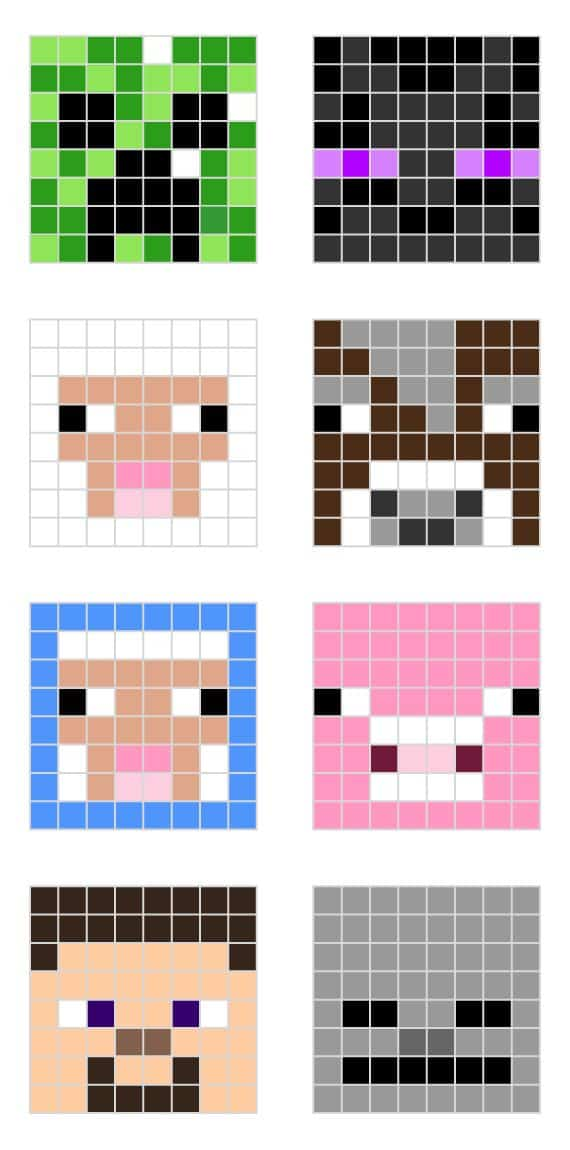 Mincraft pixel art templtes creeper enderman sheep pig steve cow factions