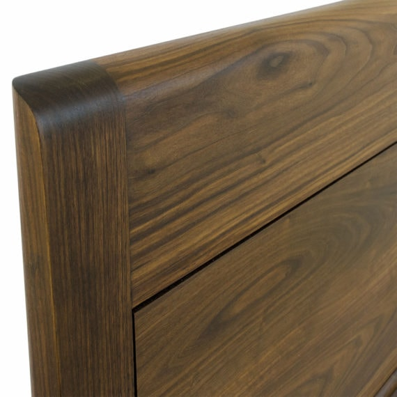 walnut platform bed headboard detail