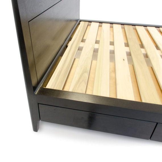 ebonized walnut storage bed