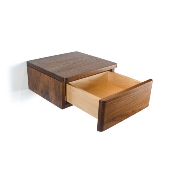 floating wood nightstand with drawer in walnut wood