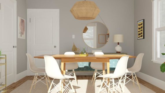 draw leaf table rendered in room with mid century modern contemporary decor