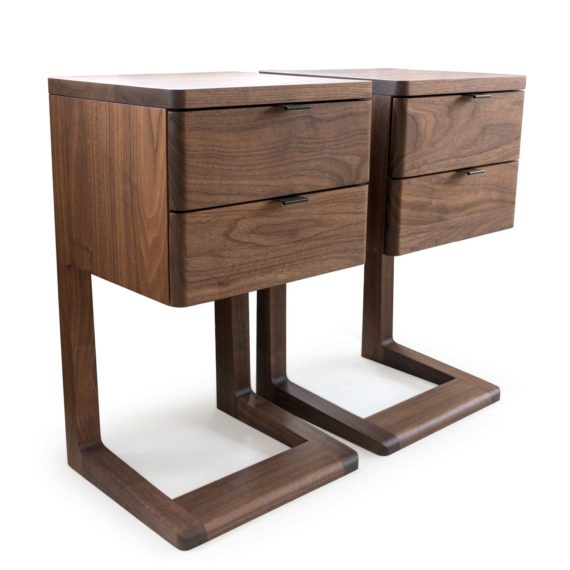 solid wood nightstand with drawers - cantilever nightstand no. 2