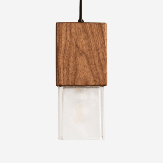 prairie wood and glass pendant light front view, light off