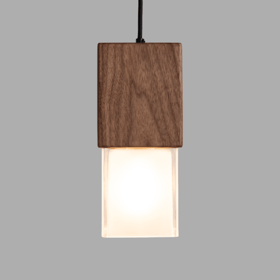 prairie wood and glass pendant light , light on, front view