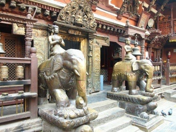 Inside the golden temple Kathmandu Nepal. Elephants