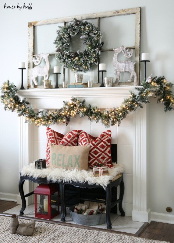 Rustic Christmas Fireplace Mantel