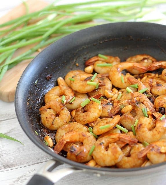Quick and easy spicy kung pao shrimp made at home in minutes.