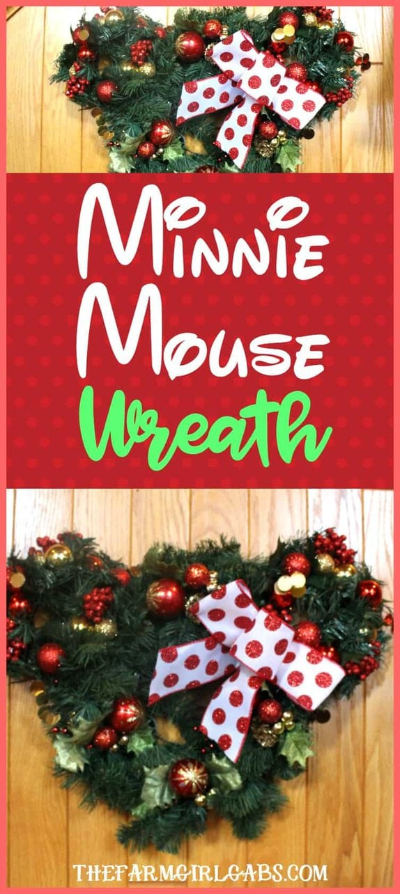 Calling all Disney Fans! Learn how to make the easy Minnie Mouse Christmas Wreath. It's a simple DIY craft for the Disney lover in all of us! #WaltDisneyWorld #Disney #Christmas
