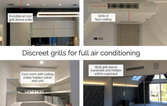 Discreet grills for air conditioning in kitchen and bedrooms in new build fitted by Sub-Cool FM
