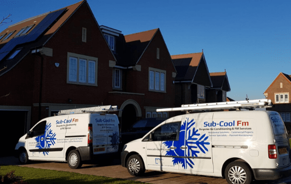 SubCoolFm air conditioning vans outside Crawley residential setting