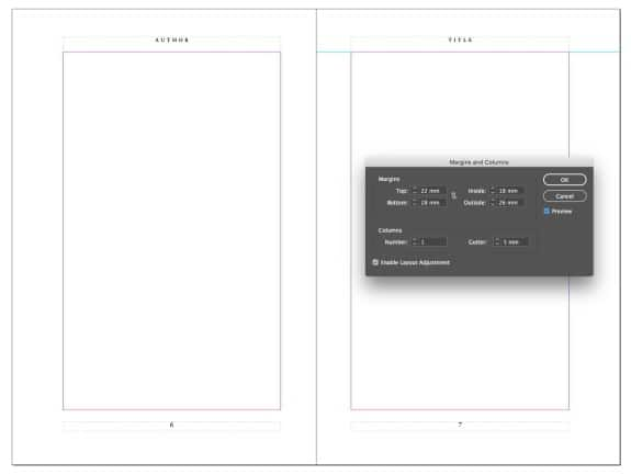 Chapter One Book Production - book layout showing margins