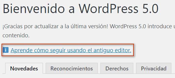 Muestra el enlace con información del plugin Editor Clásico
