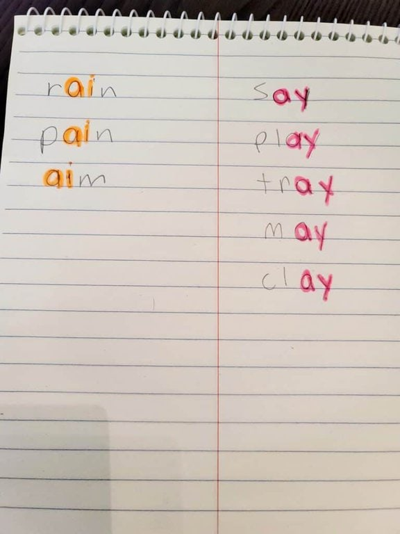 color coding vowel teams for long a
