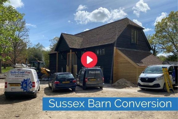 Sussex Barn Conversion exterior link to YouTube video