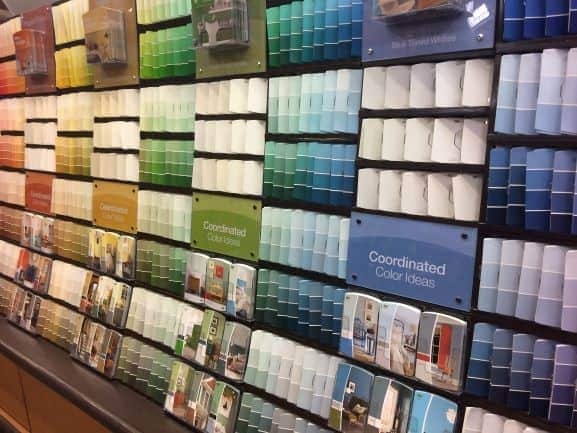 Wall of paint chips at store