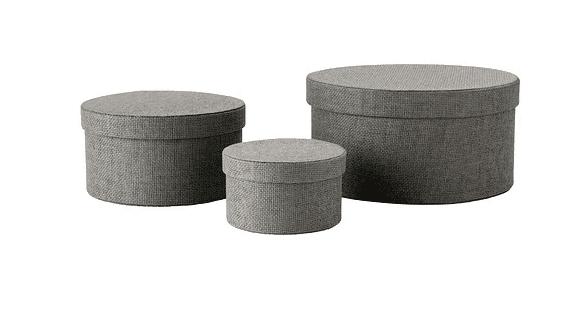 Round fabric storage boxes