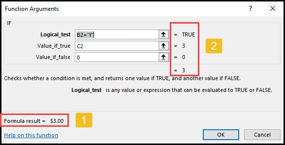 Excel If function arguments.