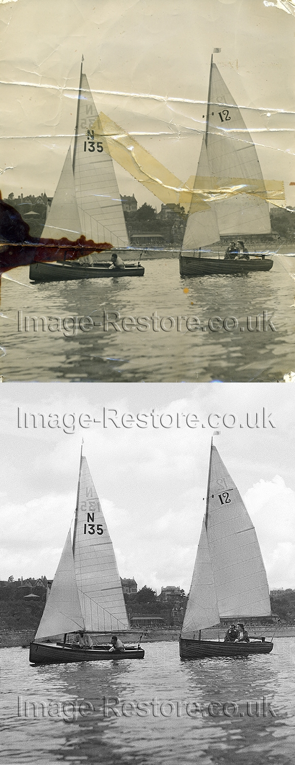 Old boating photo restored