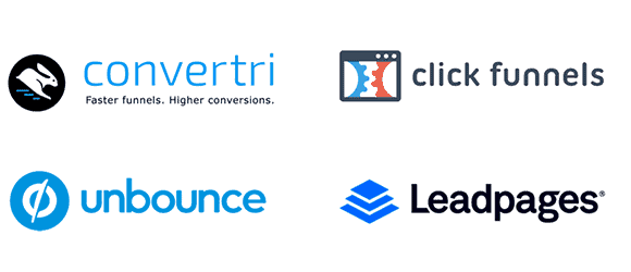 Logotipos Convertri ClickFunnels Unbounce LeadPages