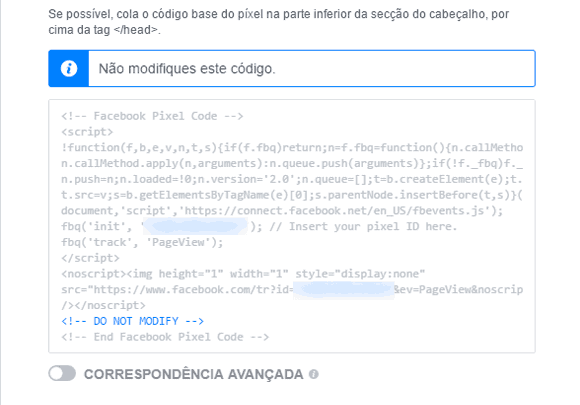 Exemplo de código do pixel do facebook